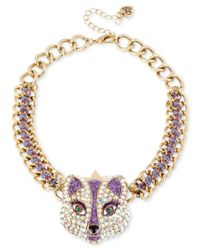 Betsey Johnson | Metallic Gold-tone Purple Crystal Fox Frontal Necklace | Lyst