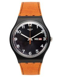 Swatch - Metallic Watch, Unisex Swiss Faux Fox Orange Silicone Strap 41mm Suob709 - Lyst