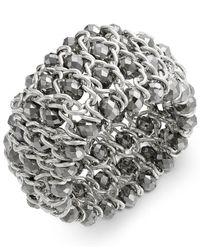 INC International Concepts | Metallic Bracelet, Silver-tone Chain And Bead Stretch Bracelet | Lyst