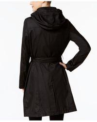 T Tahari - Black Four-pocket Belted Hooded Raincoat - Lyst