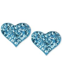 Betsey Johnson | Silver-tone Heart Blue Crystal Stud Earrings | Lyst