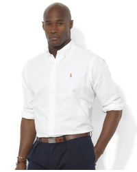 Polo Ralph Lauren   White Men's Big And Tall Long-sleeve Solid Oxford Shirt for Men   Lyst