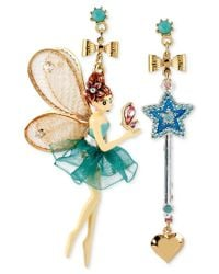 Betsey Johnson | Blue Antique Gold-tone Fairy And Wand Mismatch Drop Earrings | Lyst