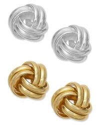 Giani Bernini | Metallic 24k Gold Over Sterling Silver And Sterling Silver Love Knot Stud Earrings Set | Lyst