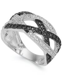 Macy's - Metallic Victoria Townsend Sterling Silver Black (1/4 Ct. T.w.) And White Diamond Accent Crisscross Ring - Lyst