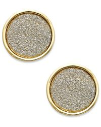 ABS By Allen Schwartz | Metallic Gold-tone Gray Texture Round Stud Earrings | Lyst