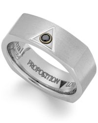 Proposition Love | Gray Cobalt Triangle And Diamond Accent Wedding Band for Men | Lyst