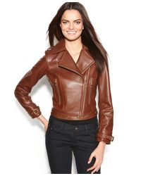 Calvin Klein | Brown Leather Asymmetrical Moto Jacket | Lyst