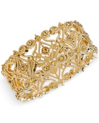 2028 | Metallic Gold-tone Imitation Topaz Filigree Stretch Bracelet, A Macy's Exclusive Style | Lyst