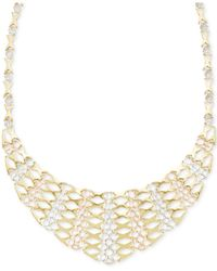 Macy's - Metallic Tri-tone Graduated Frontal Necklace In 14k Gold - Lyst