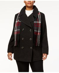 London Fog - Multicolor Plus Size Peacoat With Scarf - Lyst