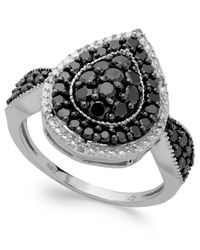 Macy's | Metallic Sterling Silver Black (1 Ct. T.w.) And White Diamond Accent Pear-shaped Ring | Lyst