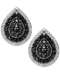 Macy's - Multicolor Sterling Silver Black (9/10 Ct. T.w.) And White Diamond Accent Stud Earrings - Lyst