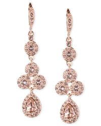 Givenchy | Multicolor Rose Gold-tone Swarovski Element Linear Drop Earrings | Lyst