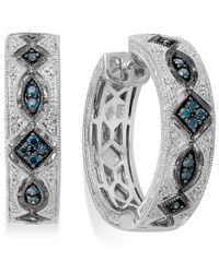 Macy's - Swiss Blue Topaz Inside-out Hoop Earrings (4 Ct. T.w.) In Sterling Silver - Lyst