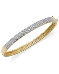 Macy's | Metallic 18k Gold Over Sterling Silver-plated Or Silver-plated Diamond Accent Hinge Bangle Bracelet | Lyst