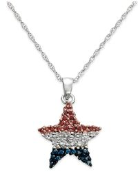 Macy's | Metallic Diamond Flag Star Pendant Necklace In Sterling Silver (1/4 Ct. T.w.) | Lyst