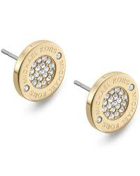 Michael Kors | Metallic Crystal Pave Logo Stud Earrings | Lyst