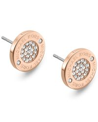 Michael Kors | Pink Gold-tone Crystal Pave Logo Stud Earrings | Lyst