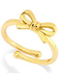 kate spade new york - Metallic Bow Adjustable Ring - Lyst