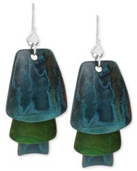 Robert Lee Morris | Metallic Silver-tone Layered Blue And Green Patina Earrings | Lyst