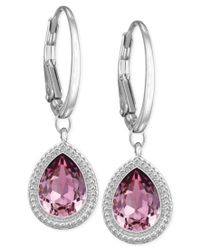 Swarovski - Rhodium-plated Pink Crystal Drop Earrings - Lyst