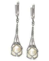 Effy Collection | Metallic Cultured Freshwater Pearl Cage Drop Earrings In Sterling Silver (10mm) | Lyst