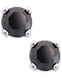 Macy's | Black Diamond Round Stud Earrings In 10k White Gold (1/10 Ct. T.w.) | Lyst