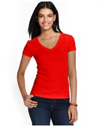Tommy Hilfiger | Red V-neck T-shirt, Only At Macy's | Lyst