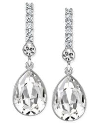 Swarovski | Metallic Silver-tone Crystal Drop Earrings | Lyst