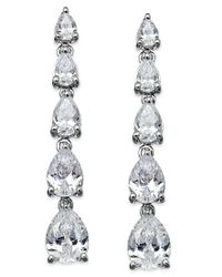 Arabella | White Swarovski Zirconia Graduated Linear Earrings In Sterling Silver (8 Ct. T.w.) | Lyst