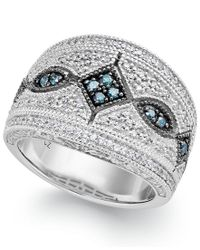 Macy's   Multicolor Blue (1/8 Ct. T.w.) And White (1/3 Ct. T.w.) Diamond Ring In Sterling Silver   Lyst
