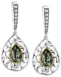 Effy Collection | Multicolor Balissima By Effy Green Amethyst Pear Drop Earrings In Sterling Silver And 18k Gold (2-1/3 Ct. T.w.) | Lyst