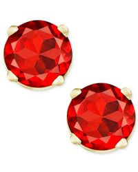 Macy's | Red Garnet Stud Earrings In 14k Gold (1 Ct. T.w.) | Lyst