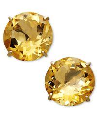 Macy's | Metallic Citrine Stud Earrings In 14k Gold (1 Ct. T.w.) | Lyst