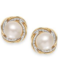 Macy's | Metallic Cultured Freshwater Pearl (9mm) And Diamond (1/10 Ct. T.w.) Knot Stud Earrings In 14k Gold | Lyst
