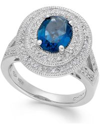 Macy's | London Blue Topaz (2-1/5 Ct. T.w.) And Diamond (1/3 Ct. T.w.) Two-row Ring In Sterling Silver | Lyst