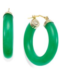 Macy's | Green Jade Hoop Earrings In 14k Gold (27-1/2mm) | Lyst