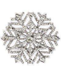 Charter Club - Metallic Silver-tone Crystal Snowflake Brooch - Lyst