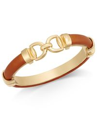 Charter Club - Brown Gold-tone Faux Leather Interlock Bracelet - Lyst