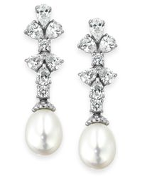 Arabella | Metallic Cultured Freshwater Pearl (8mm) And Swarovski Zirconia (1-3/4 Ct. T.w.) Earrings In Sterling Silver | Lyst