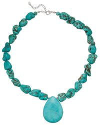 Macy's | Blue Manufactured Turquoise Pendant Necklace In Sterling Silver (550 Ct. T.w.) | Lyst