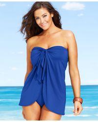 Lauren by Ralph Lauren | Blue Plus Size Flyaway Tummy-control One-piece Swimsuit | Lyst