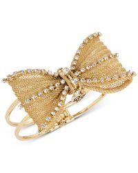 Betsey Johnson - Metallic Mesh Crystal Bow Hinged Bangle Bracelet - Lyst