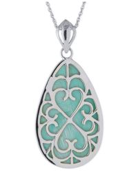 Macy's | Blue Manufactured Turquoise Teardrop Pendant Necklace In Sterling Silver | Lyst