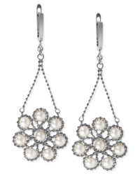 Effy Collection - Metallic Effy Cultured Freshwater Pearl Flower Cluster Drop Earrings In Sterling Silver (4-1/2mm) - Lyst