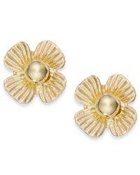 Macy's | Metallic Clover Stud Earrings In 10k Gold | Lyst