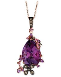 Le Vian - Purple Multi-stone (5-3/8 Ct. T.w.) And Chocolate Diamond (1/10 Ct. T.w.) Pendant Necklace In 14k Rose Gold - Lyst