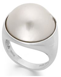 Macy's - White Cultured Freshwater Pearl Mabe Ring In Sterling Silver (17mm) - Lyst