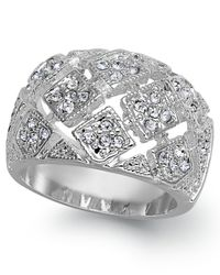 Charter Club | Multicolor Silver-tone Crystal Mesh Wide Ring | Lyst